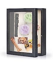 Love-KANKEI Shadow Box Frame 8x10 Shadow Box Display Case with Linen Back Memorabilia Awards Medals Photos Memory Box Rustic Black