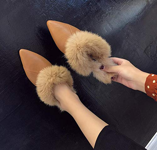 Closed Fall Pointed Plush Brown Heel DANDANJIE Toe Flat Womens Shoes Shoes Slippers Winter xTZZqYvSw