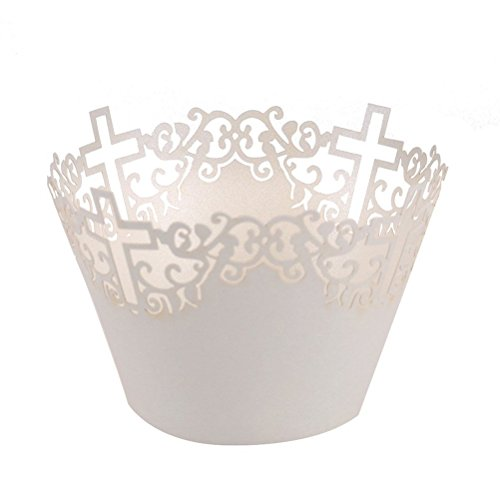 FENICAL Filigree Vine Cross Paper Cake Cupcake Wrappers Cupcake Holder Wedding Party Decor 50pcs (White) ()