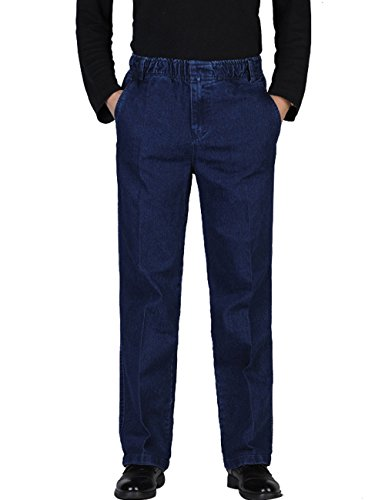 (Zoulee Men's Full Elastic Waist Denim Pull On Jeans Straight Trousers Pants Blue 2XL Fit 42)