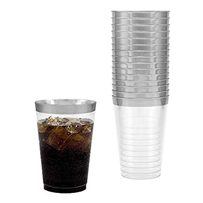 BloominGoods 50-Pack 7.5oz Wine Glass - Disposable Clear Plastic Cups - Party & Wedding - Fancy Premium Heavy Duty