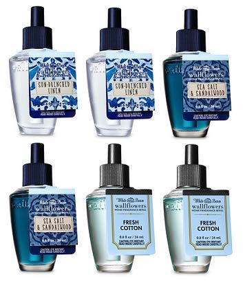 Bath and Body Works 6 Pack Wallflowers Fragrances Refill. 0.8 Oz. Sun-Drenched Linen, Sea Salt Sandalwood and Fresh Coconut & Eucalyptus. 6 Bath Sea Salt Glass