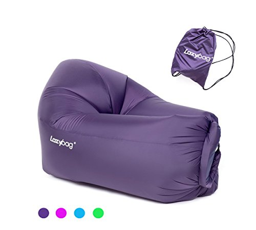 Lazybag Children Inflatable Lounger with Carry Bag Portable Waterproof Air Sofa Lounge Chair Couch Pool Float Ships for Outdoor, Hangout, Beach, Parties, Camping, Picnics and Hiking, 47x32x22 Inch - New Chaise Lounge Chair