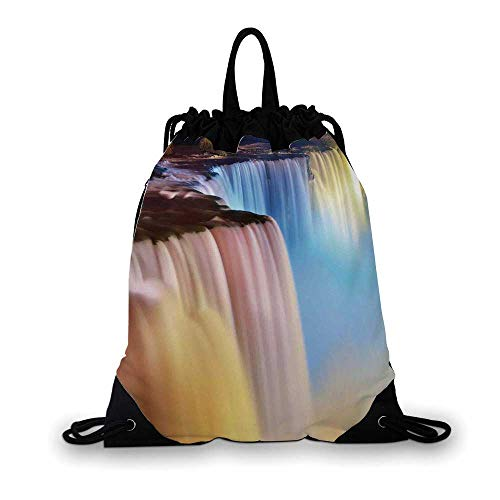 Waterfall Nice Drawstring Bag,Niagara Falls Colorful Cascade Stream at Night View Waterfall Scenic Picture For hiking,7.4
