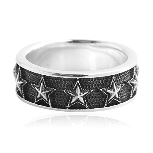 Bishilin Silver Plated Rings for Men Pentagram Stars Partner Rings Silver Size 8 by Bishilin