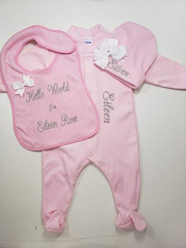Personalized Baby Bib Embroidered with Your Custom Text Includes Pajamas/Beanie (Newborn, Blue)