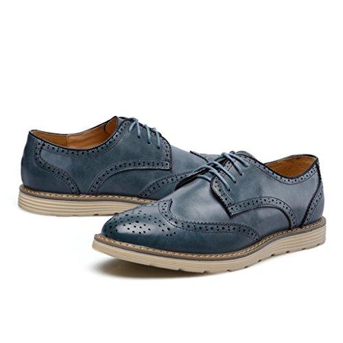 Minitoo Men's Bleu Casual Travail bottes De Et En Chaussures Lacets Chukka Cuir oxford À qq1rdwO