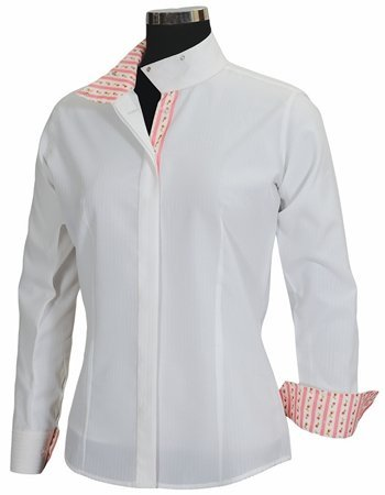 Equine Couture Women's Isabel Coolmax Show Shirt, White/Floral, - Shirt Ladies Show