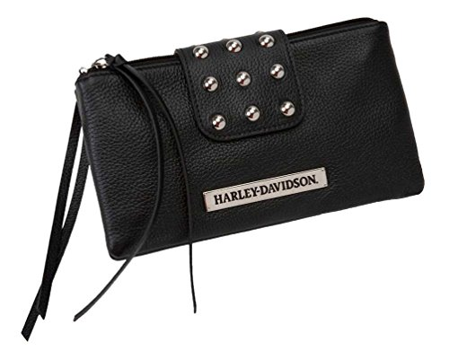 Harley-davidson Harley-davidson Womens Hip Bag Clutch Rider Leather Double Up Rd6245l-black Mtmb Inc