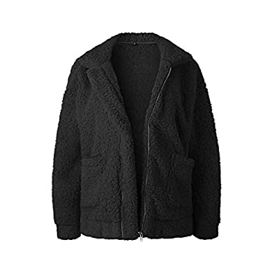 SHIBEVER Fluffy Women Coats Faux Wool Blend Warm Winter Jacket Zip Up Long Sleeve Oversized Fashion Outerwear: Clothing