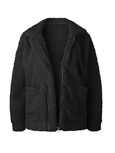 (SHIBEVER Fluffy Women Coats Faux Wool Blend Warm Winter Jacket Zip Up Long Sleeve Oversized Fashion Outerwear Black S)