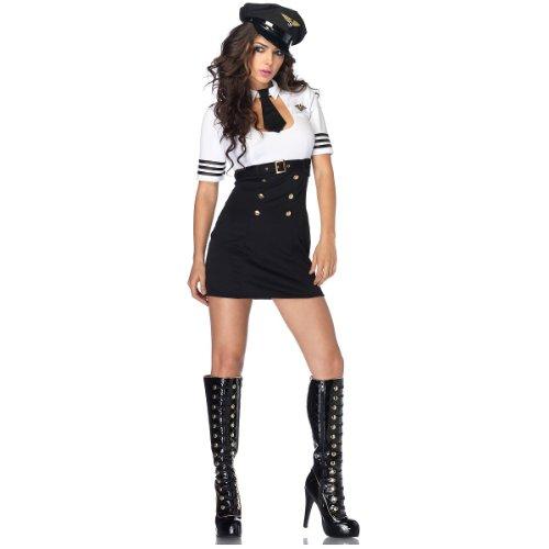 Leg Avenue Women's 2 Piece First Class Captain Pilot Costume, Black/White, (Flight Captain Womens Costumes)