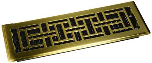 - Decor Grates AJH414-SB 4-Inch by 14-Inch Oriental Floor Register, Satin Brass Finish