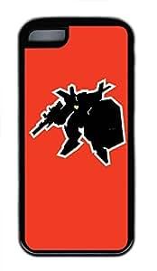 Hot iPhone 5C Customized Unique Print Design Robot Sticker Graphics New Fashion Tpu Black iPhone 5C Cases