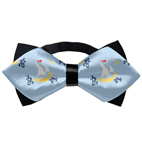 Pre-Tied Bowties, Butterfly Bow Tie - Sailboats Blue Creative Bow Ties, Men Boy Kids Children Adjustable Banded Bow Ties, Elegant Formal Tuxedo Tie, Assorted Ties (Logo Man With Moustache And Bow Tie)