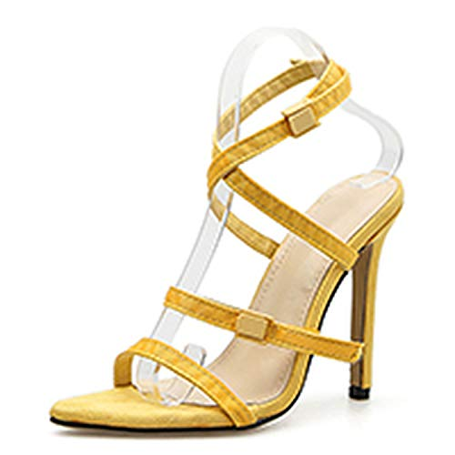 ce5d6199b2941e Juvenile shoulder 2019 Design Yellow Ladies Sandals Pointed Sexy Open Toe  Super High Heels 11 cm