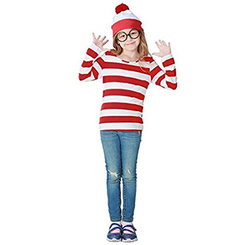 JALYCOS Family Halloween Costume,Red and White Striped Cosplay T-Shirt, Outfit Glasses Hat Shirt Suits -