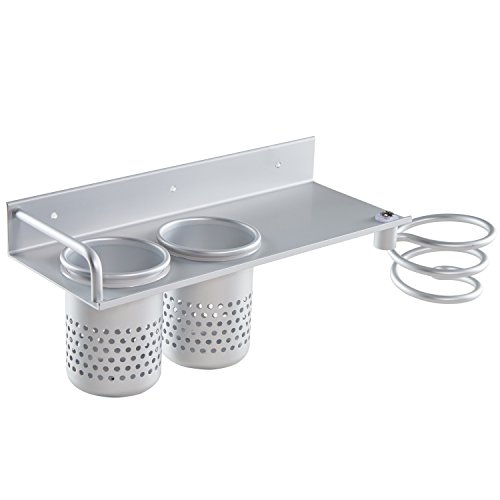 Lebather Hair Dryer Rack Shelf Flat Panel Hair Dryer Holder with 2 Cans Stainless Steel Multi-functional Bathroom Organizer Collection (Hair Dryer Shelf 2)