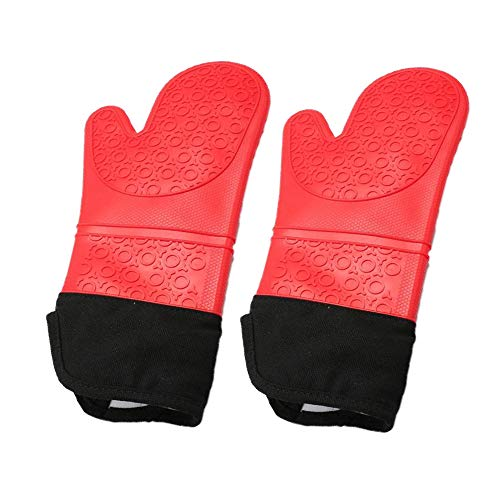 Oven Mitt Silicone Extra Long Heat Resistant Waterproof Non Slip Kitchen Gloves Red 14.37 Inch 1 Pair