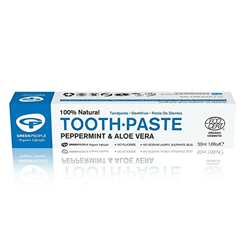 Green People Peppermint and Aloe Vera natural Toothpaste 50ml (Pack of 4)