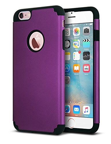 ULAK iPhone 6 Plus Case, iPhone 6S Plus Case,Thin Dual Layer Soft Silicone Skin Hard Back Cover Anti Scratches Bumper Protective Case for Apple iPhone 6 Plus/6S Plus 5.5 inch, Deep Purple ()