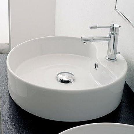 Scarabeo 8029/R One Hole Geo Round Ceramic Vessel Sink, White