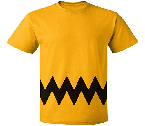 Custom Kingdom Mens Peanuts Charlie Brown T-Shirt (XL), Yellow