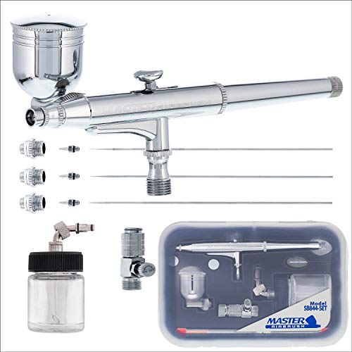 Side Feed - Master Airbrush SB844 Pro Set Dual-Action Side Bowl Feed Airbrush with 3 Nozzle Sets (0.2, 0.3 & 0.5mm Needles, Fluid Tips and Air Caps), Gravity Cup, Siphon Suction Feed Bottle Kit - Auto, Art, Hobby