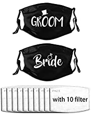 theirsova Groom and Bride Face Mask Black Wedding Masks Face Mask Bride Mask Fashionable Reusable Washable Mouth Nose Coverings with 10 Filters 2 Packs