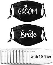 theirsova Groom and Bride Face Mask Black Wedding Masks Face Mask Bride Mask Fashionable Reusable Washable Mou