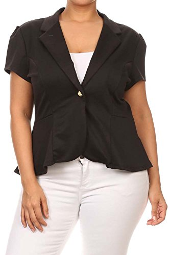 Women's PLUS Solid Short Sleeves Fitted Blazer Style Jackets. MADE IN USA (Peaches Cardigan Style Jacket)
