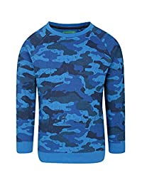 Mountain Warehouse Printed Boys Sweatshirt -100% Cotton Kids Pullover Blue 7-8 years