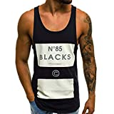 Men's Printed Vest Sleeveless Jersey Blouse Top Racer Back Muscle Shirts Tanks Tops A-Shirt (M, Black)