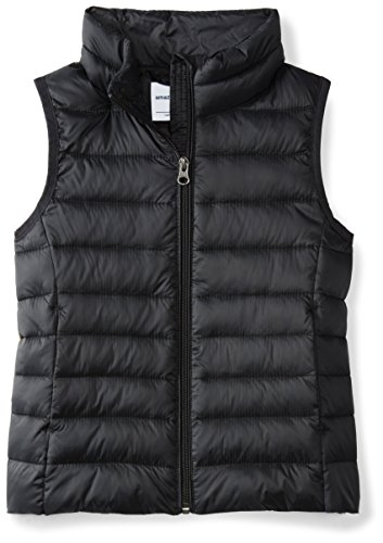 Price comparison product image Amazon Essentials Girls' Lightweight Water-Resistant Packable Puffer Vest, Black Caviar, X-Small