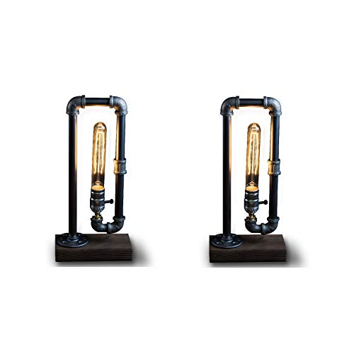 Pack of 2 Minimalist Industrial Steampunk Desk Lamp Wood Base with Iron Piping Vintage Antique Designer Lighting Retro Edison Medium Screw Lamp Holder Reading Light Hallway Study Bedroom Tattoo Parlor