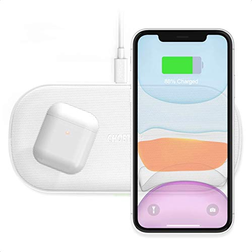 CHOETECH Dual Fast Wireless Charger,5 Coils 10/7.5W Wireless Charging Pad Compatible with iPhone 12 Pro Max/11 Pro Max/XR/XS Max/X,Samsung Galaxy S20, Note 10/9/8,S10/S10E/S9/S9+,AirPod Pro etc