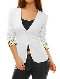 Allegra K Women Long Sleeve One Button Padded Shoulder Casual Boyfriend Blazer