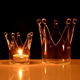 Candleholder - Crown Glass Candle Holder Candelabrum Stick Light Dinner Home Wedding Decor Gift - Duck - Aromatherapy Electric Battery Tealight Lined Quartz Votive Centerpiece - 1PCs