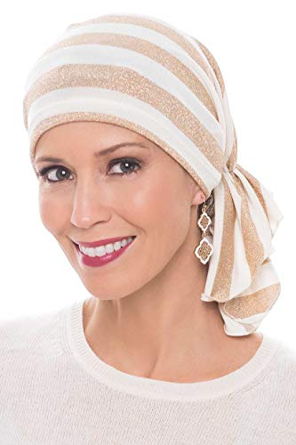 Snood Gold - Slip-On Slinky-Caps for Women with Chemo Cancer Hair Loss Gold Stripe