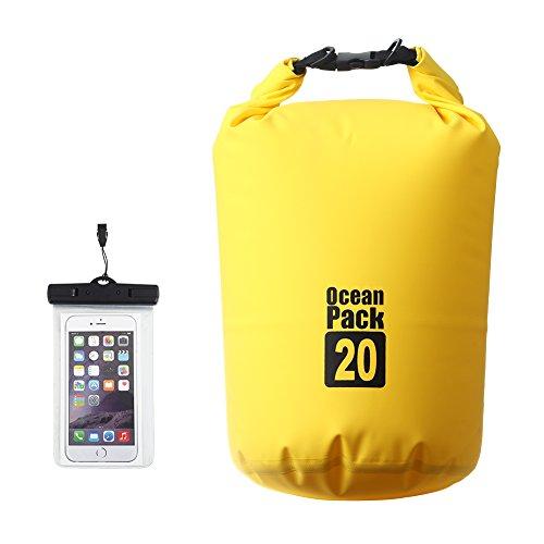 XY Fancy 20L Waterproof Dry Bag with Waterproof Phone Case Boat Bag Kayak Dry Bag Keeps Gear Dry for Beach Swimming Canoeing Fishing Rafting Camping Snowboarding Hiking, Yellow