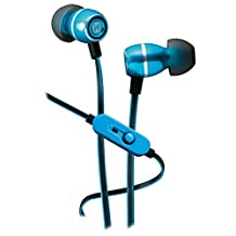Sound Design iHome iB18L Noise Isolating Metal Earphones with In-line Mic, Remote and Pouch Blue