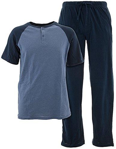 (Hanes Brands Pajamas, PJ's, Sleepwear, Lounge Set Men's Short Sleeve Tag-Less Shirt and Pants (X-Large, Henley Navy & Heather Blue))