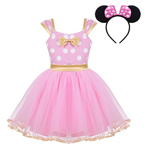 Alvivi Baby Girls' Polka Dots Mouse Halloween Fancy Dress Cosplay Costumes with 3D Ears Headband Set Tulle Pink 18-24 Months ()