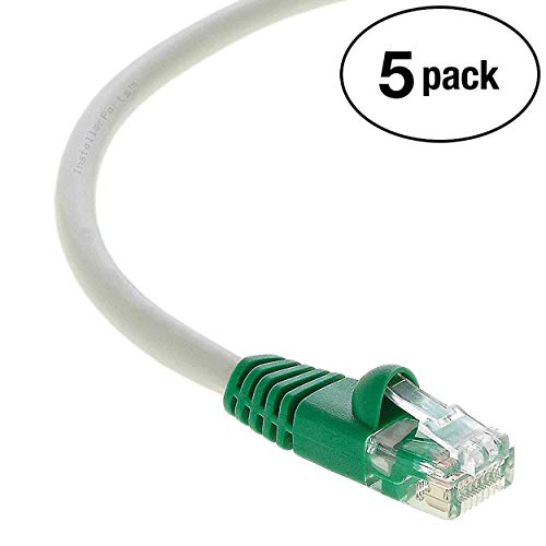 InstallerParts (5 Pack) Ethernet Cable CAT6 Cable Crossover 1 FT - Gray w/Green End - Professional Series - 10Gigabit/Sec Network/High Speed Internet Cable, 550MHZ