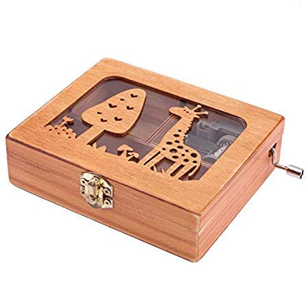 Unknown Music Boxes - City Of Sky Vintage Carved Exquisite Retro Wooden Hand Crank Music Box Theme - Trains Granddaughter Box Mother Butterflies Moving Prime Godfather Gloves Anime