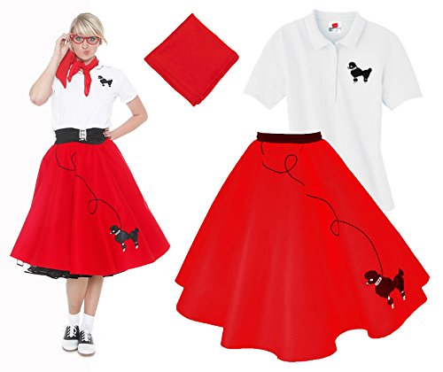 [Hip Hop 50s Shop Adult 3 Piece Poodle Skirt Costume Set Red XXLarge] (Greaser Girl Outfits)