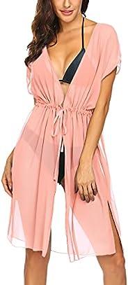 Ekouaer Women's Coverups Swimming Suits Chiffon Kimono Dress Mesh Sheer Swimwear Cover Ups Long Card