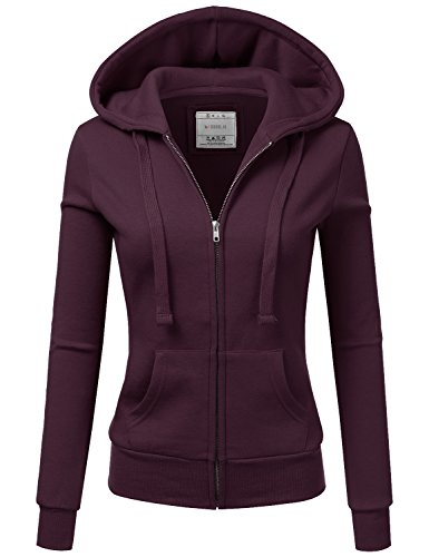 Doublju Lightweight Thin Zip-Up Hoodie Jacket For Women With Plus Size Plum X-Large