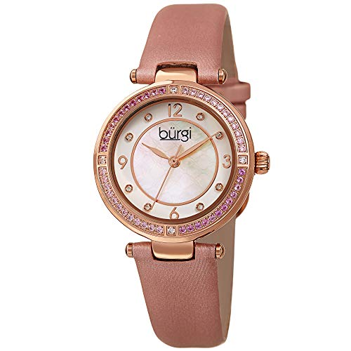 Burgi Ombra Colored Crystals Women's Watch - 8 Diamond Markers On Mother-of-Pearl Dial - Satin Over Genuine Leather Strap - BUR251PK (Pink)