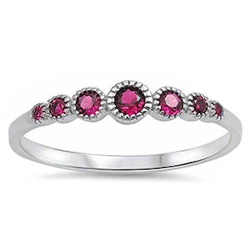 Ruby Womens Ring (Seven Round Simulated Ruby .925 Sterling Silver Ring Size 8)